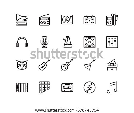 Music icon set, outline style