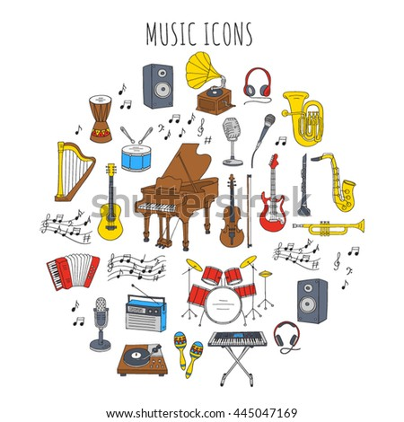Music icon set vector illustrations hand drawn doodle. Musical instruments and symbols piano, guitar, synthesizer, drum set, gramophone, microphone, violin, trumpet, accordion, saxophone, headphones.