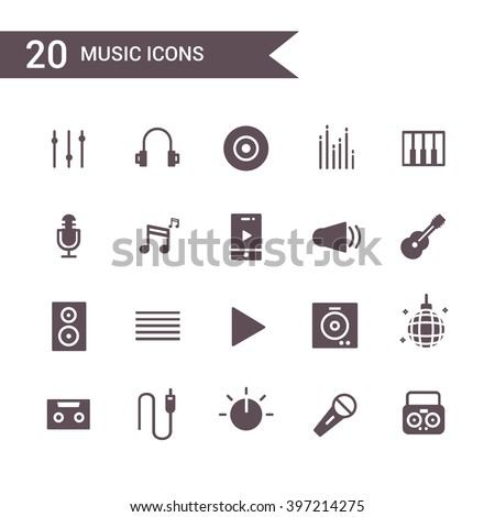 music icon set vector. Silhouette.