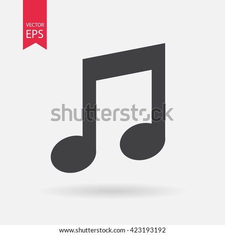 Music icon vector, Melody, song, note, sound, audio sign Isolated on white background. Trendy Flat style for graphic design, logo, Web site, social media, UI, mobile app, EPS10