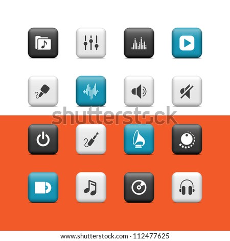 Music icons. Buttons