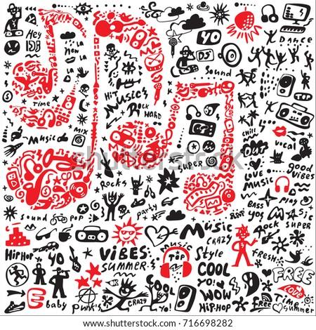 music icons doodle set