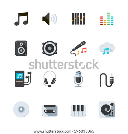Music Icons : Flat Icon Set for Web and Mobile Application