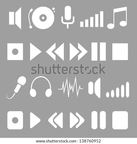 music icons for player. white on grey.