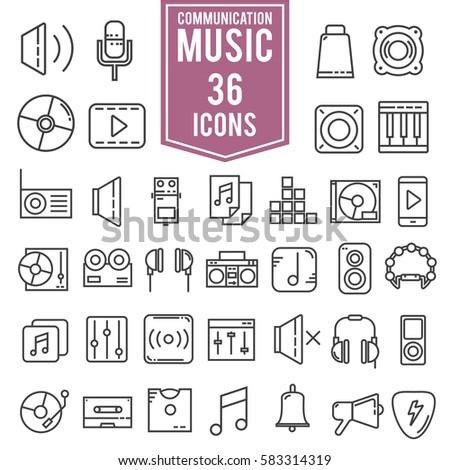 Music icons line set, illustration design EPS10