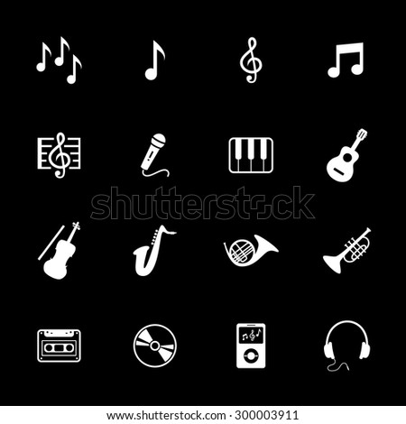 Music icons. Musical icon. Vector. White icon.