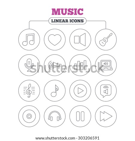 Music icons. Musical note, acoustic guitar and microphone. Notebook, dynamic and headphones symbols. Circle buttons on white. Vector