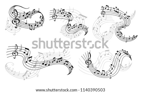 Music icons of musical staff or music stave notes and clef. Vector set of musical notes on staff for jazz club or classical opera concert and orchestra players performance