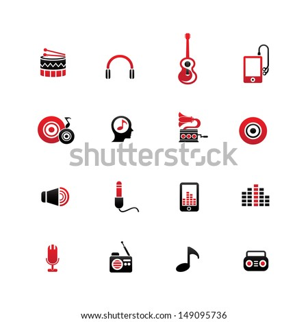 Music icons,on white background,vector