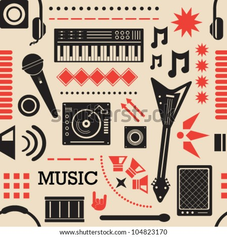 Music Icons Seamless Background
