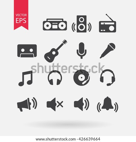 Music Icons set, Audio instruments signs, elements Isolated on white background. Volume Sound concept, Trendy Flat style for graphic design, logo, Web site, social media, UI, mobile app, EPS10