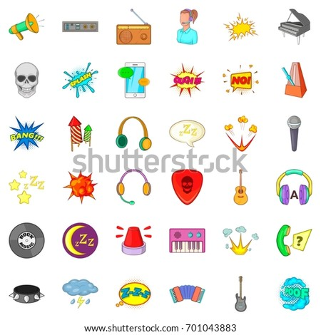 Music icons set. Cartoon style of 36 music vector icons for web isolated on white background