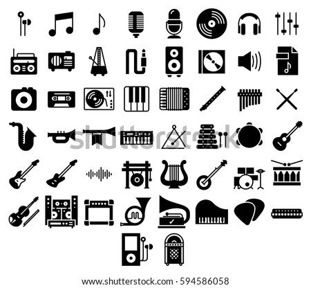 Music Icons Set Collection Kit