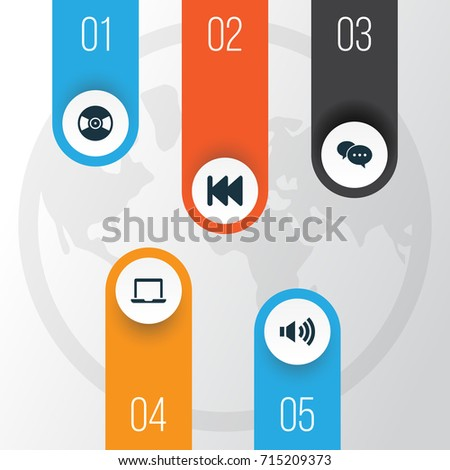 Music Icons Set. Collection Of Chatting, Megaphone, Notebook And Other Elements. Also Includes Symbols Such As Laptop, Volume, Dialog.