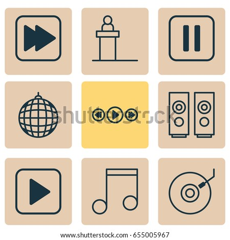 Music Icons Set. Collection Of Gramophone, Following Song, Mute Song And Other Elements. Also Includes Symbols Such As Gramophone, Next, Media.