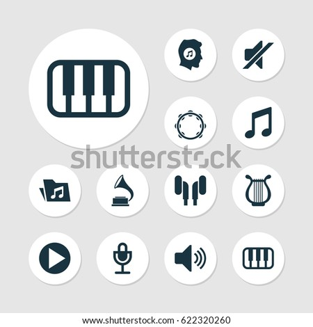 Music Icons Set. Collection Of Music, Lyre, Earmuff And Other Elements. Also Includes Symbols Such As Headset, Headphone, Lover.