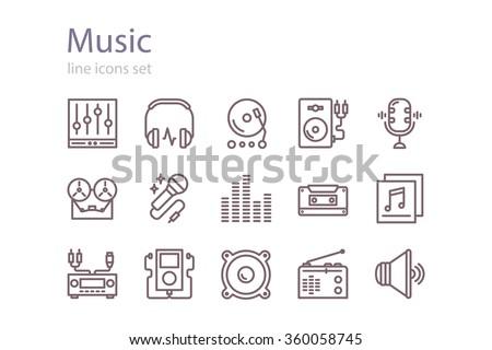 music icons set line art