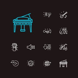 Music icons set. Music player and music icons with megaphone, grand piano, music hit. Set of broadcast for web app logo UI design.