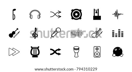 music icons set of 18 editable