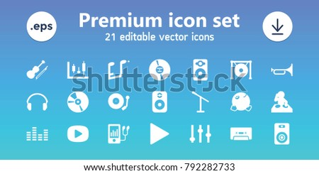 Music icons. set of 21 editable filled music icons includes adjust, dancing emoji, microphone, dj, panel control, speaker, mp3 player, cd, cassette, play, gong, violin