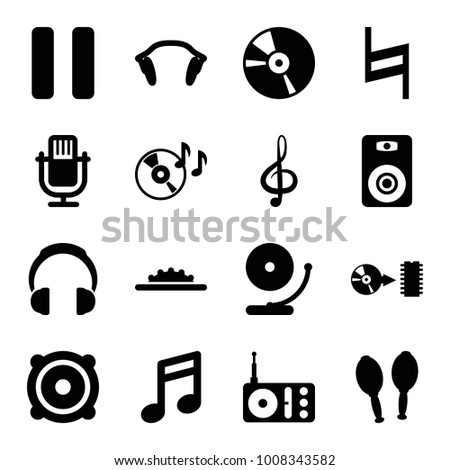 Music icons. set of 16 editable filled music icons such as note, microphone, disc on fire, radio, treble clef, speaker, cd, pause, maracas, earphones, disc, camera wheel