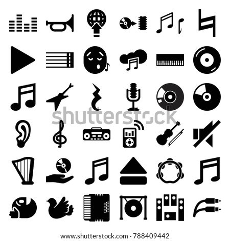 Music icons. set of 36 editable filled music icons such as treble clef, trumpet, piano, bird, disc on fire, guitar strings, no sound, loud speaker set, play, eject button