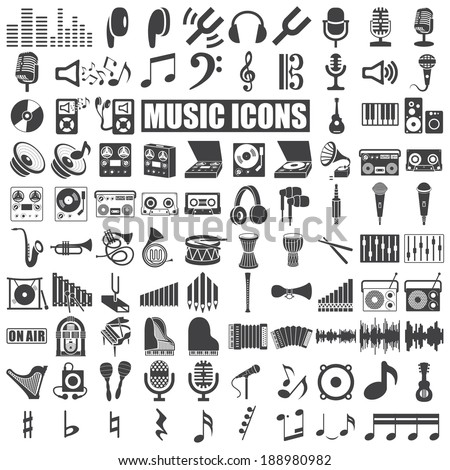 music icons set on white background. Vector