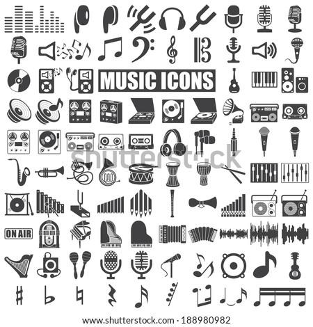 music icons set on white