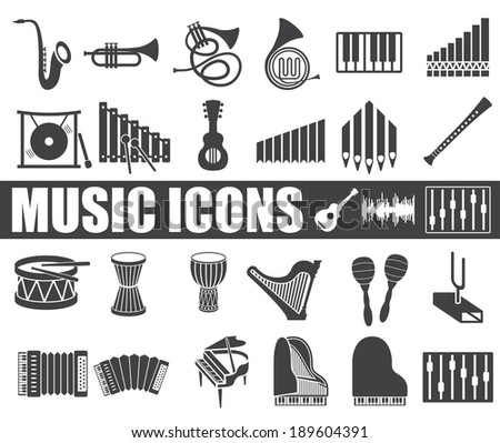 music icons set on white