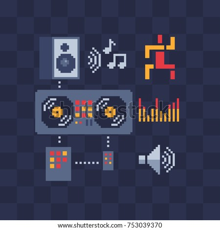 Music icons set. Pixel art. Speaker, DJ console and notes. Flyer party. Isolated vector illustration. Retro video game sprite. Old school computer graphic style.