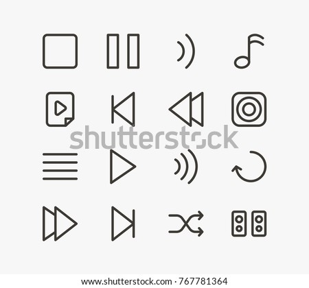 Music icons set with backward, repeat and volume. Set of music icons set sheet related vector elements of music icons set for web mobile logo UI design.