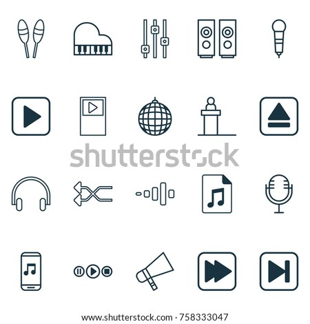 Music Icons Set With Bullhorn, Dance Club, Mike And Other Song UI Elements. Isolated Vector Illustration Music Icons.