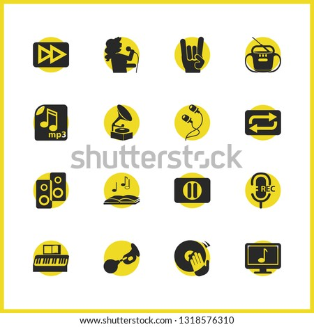 Music icons set with mp3 file, recording mic and music theory elements. Set of music icons and rock roll concept. Editable vector elements for logo app UI design.