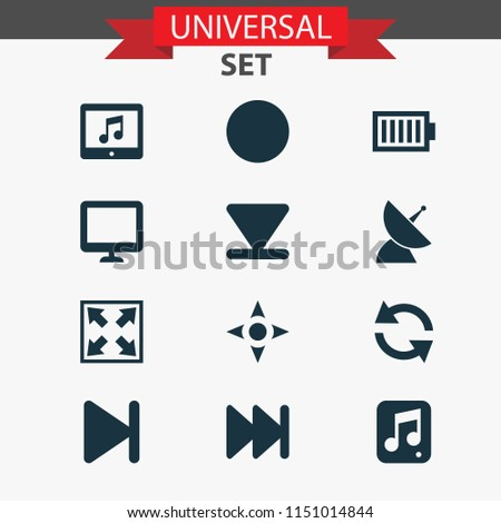 Music icons set with next, communication antenna, sync and other circle elements. Isolated vector illustration music icons.