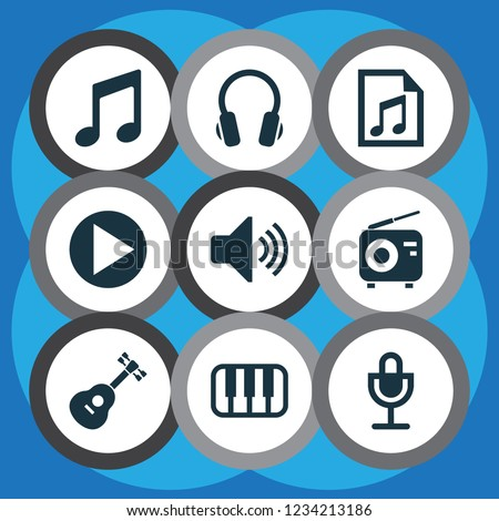 Music icons set with radio, playlist, note and other sound elements. Isolated vector illustration music icons.
