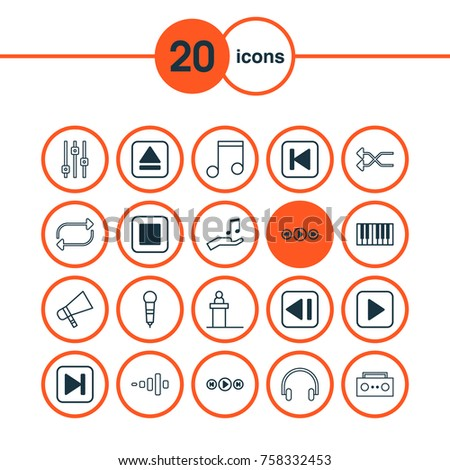 Music Icons Set With Skip Song, Refresh, Start Song And Other Start Song Elements. Isolated Vector Illustration Music Icons.