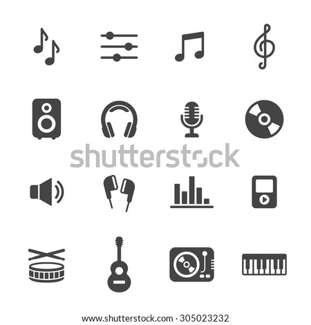 music icons simple flat vector