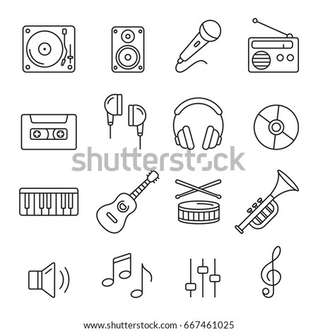 Music icons: thin monochrome icon set, black and white kit