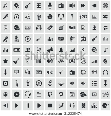 music 100 icons universal set for web and mobile