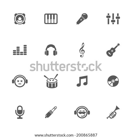 Music icons, vector.