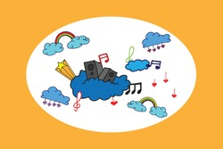 music illustration with speaker, rainbow, notes, clouds and hearts. hand drawn vector. colorful card for kids. doodle art for wallpaper, cover, poster, greeting, invitation, banner, backdrop, postcard