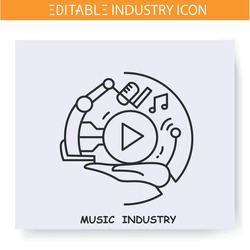 Music industry line icon. Music and song creation. Entertainment industry. Creative process. Contemporary production branches concept. Isolated vector illustration. Editable stroke