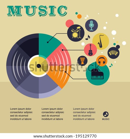 music infographic and icon set