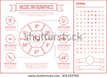 music infographic template and