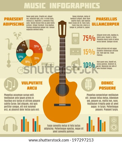 music infographics with guitar
