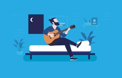 Music inspiration at night - Man sitting in bed playing guitar and composing songs. Aspiration, after dark and music instrument practice concept. Vector illustration.