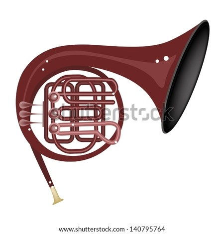 Music Instrument, An Illustration Brown Color of Vintage French Horn Isolated on White Background