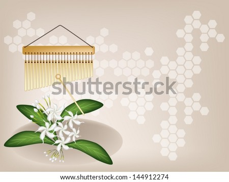 Music Instrument, An Illustration of Golden Bar Chimes and White Common Gardenias or Cape Jasmine Flowers on Vintage Brown Background with Copy Space for Text Decorated