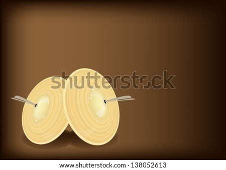 Music Instrument, An Illustration Retro Style of Cymbal or Finger Cymbals on Beautiful Vintage Dark Brown Background with Copy Space for Text Decorated