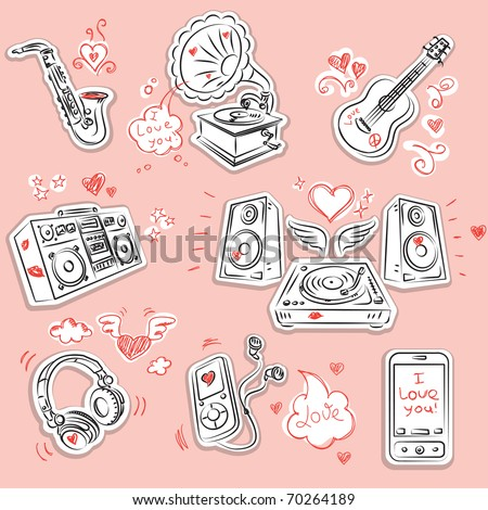 Music instrument and equipment with romantic Valentine's Day doodles